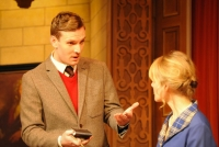 Lewis Collier (Sgt Trotter) and Anna Andresen (Mollie Ralston) in the 60th Anniversary Tour of Agatha Christie's The Mousetrap. Credit Liza Maria Dawson