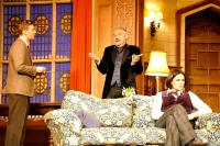 Lewis Collier (Sgt Trotter), Gregory Cox (Mr Paravicini) and Amy Dowham (Miss Casewell) in The Mousetrap. Credit Liza Maria Dawson