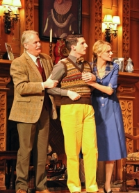 Tony Boncza (Major Metcalf), Oliver Gully (Christopher Wren) and Anna Andresen (Mollie Ralston) in The Mousetrap. Credit Liza Maria Dawson